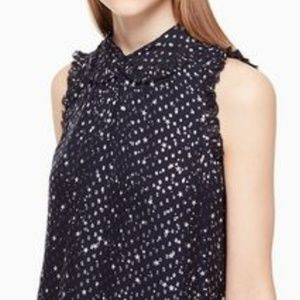 Kate Spade Top Navy with Silver Star Pattern M